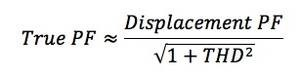 уравнение показывает, как гармоники влияют на полный коэффициент мощности